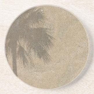 Palm Tree Shadow on Beach Sand Background - Palms Drink Coasters