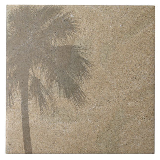 Palm Tree Shadow on Beach Sand Background - Palms Large Square Tile