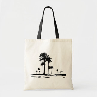 Palm tree silhouette budget tote bag