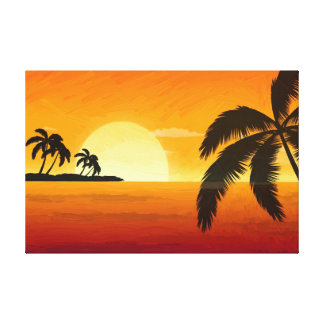 Palm Tree  Silhouette Oil Painting Print Gallery Wrapped Canvas