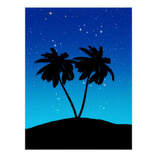 Palm Tree Silhouette on Evening Blue with Stars Poster