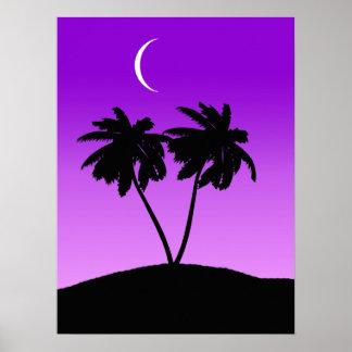 Palm Tree Silhouette on Twilight Purple Poster