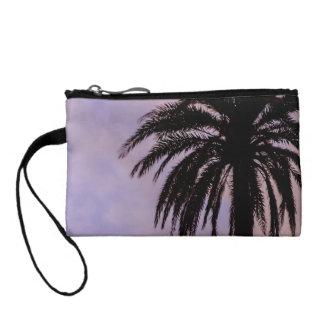 Palm Tree Silhouette Purple Sky Change Purse