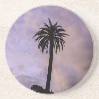 Palm Tree Silhouette Purple Sky Beverage Coaster