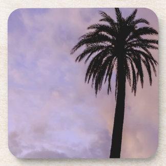 Palm Tree Silhouette Purple Sky Drink Coasters