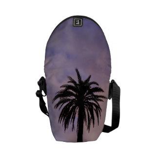 Palm Tree Silhouette Purple Sky Courier Bag
