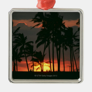 Palm Tree Silver-Colored Square Decoration