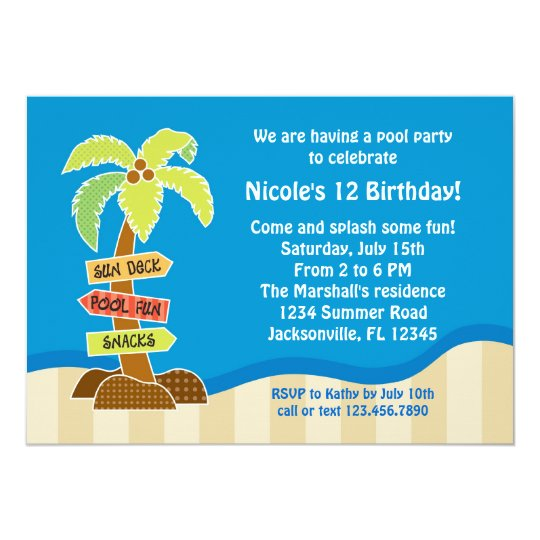 Palm Tree Sing Pool Party Invitation
