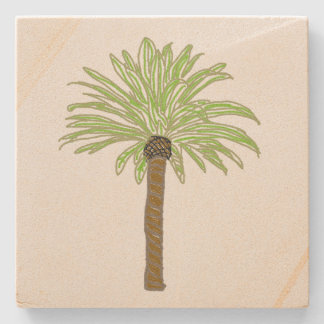 Palm Tree Sketch Stone Beverage Coaster