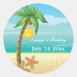 Palm tree & starfish beach wedding Save the Date Round Stickers