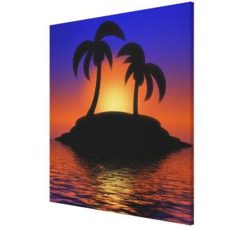 Palm Tree Sunrise Canvas Prints