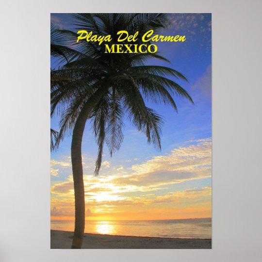 Palm Tree Sunrise Playa Del Carmen Mexico Poster