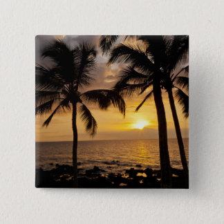 Palm tree sunset 15 cm square badge