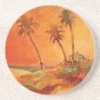 Palm Tree Sunset Beach Dunes Coasters