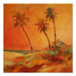 Palm Tree Sunset Beach Dunes Print