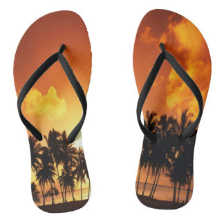 Palm Tree Sunset Beach Flip Flops