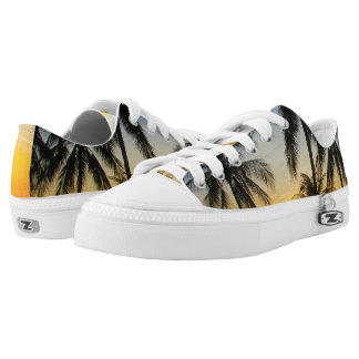 Palm Tree Sunset Beach Sneaker Printed Shoes