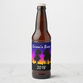 Palm Tree Sunset Beer Bottle Label