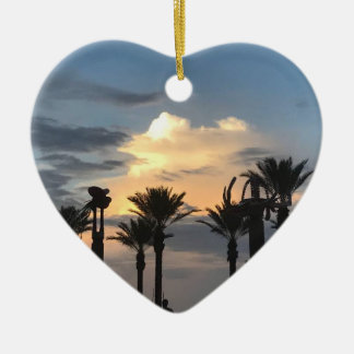 Palm Tree Sunset Christmas Ornament
