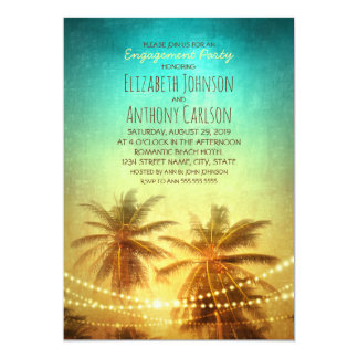 Palm Tree Sunset Hawaiian Beach Engagement Party Card