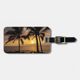 Palm tree sunset luggage tag