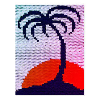 Palm Tree Sunset Unique Tropical Crochet Print on Postcard