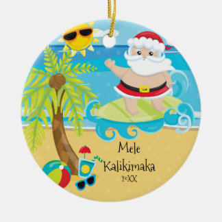 Palm Tree Surfing Santa Hawaiian Christmas Christmas Ornament