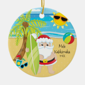 Palm Tree Surfing Santa Hawaiian Christmas Round Ceramic Decoration