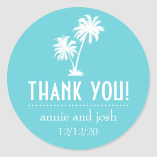 Palm Tree Thank You Labels (Teal) Round Sticker