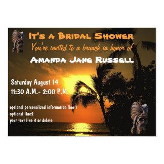 Palm Tree Tiki Bridal Shower Brunch 14 Cm X 19 Cm Invitation Card