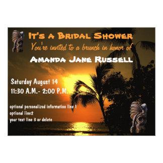 Palm Tree Tiki Bridal Shower Brunch Personalized Invites
