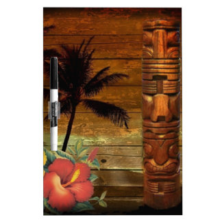 Palm Tree totem tropical Floral hibiscus Hawaiian Dry Erase Board