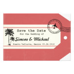 Palm Tree travel theme Luggage Tag Save the Date Invitation