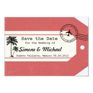 Palm Tree travel theme Luggage Tag Save the Date 9 Cm X 13 Cm Invitation Card