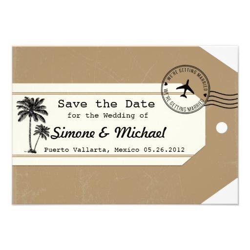 Palm Tree travel theme Luggage Tag Save the Date Custom Invitations