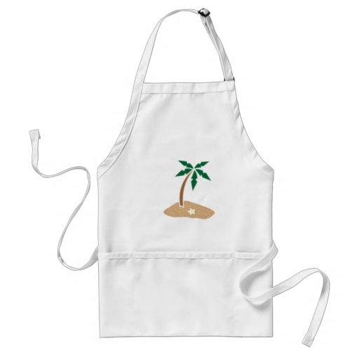 Palm Tree Tropical Island Beach Cartoon Aprons