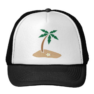 Palm Tree Tropical Island Beach Cartoon Trucker Hat
