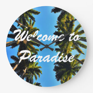 Palm tree tropical paradise summer photo large clock