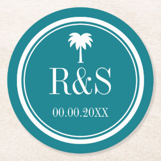 Palm tree turquoise blue monogram wedding coasters round paper coaster