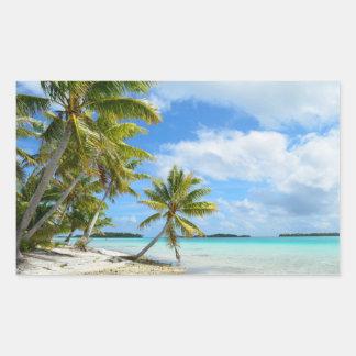 Palm tree white sand beach rectangular sticker