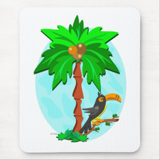 Palm Tree with Attentive Toucan Mouse Mat