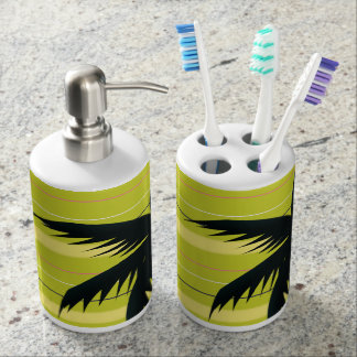 Palm tree with stripes soap dispenser and toothbrush holder