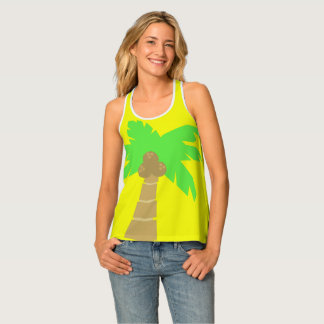 Palm Tree  Yellow Women's Racerback Tank Top