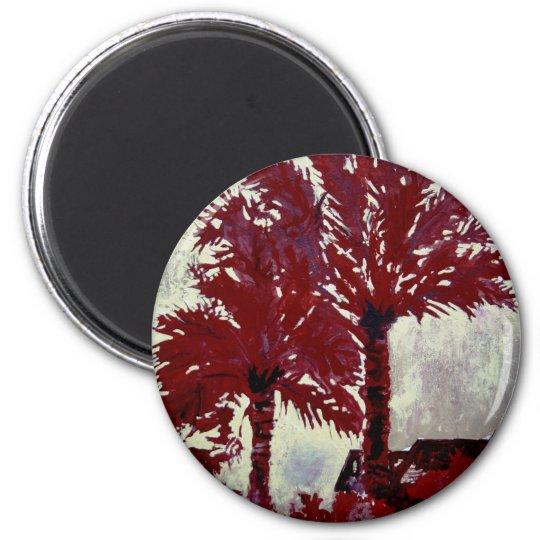 palm trees acrylic modern tropical wall art 6 cm round magnet