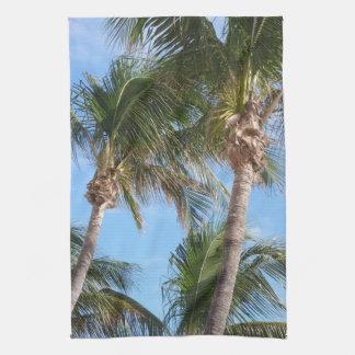 Palm Trees Against Blue Sky Tea Towel