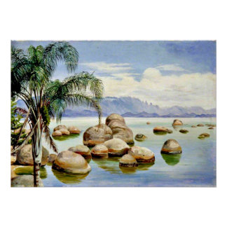 Palm Trees and Boulders in the Bay of Rio, Brazil Poster