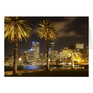 Palm Trees and CBD at Night, Sydney, New South Card