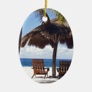 Palm Trees and chairs Mexico Beach Ceramic Oval Decoration