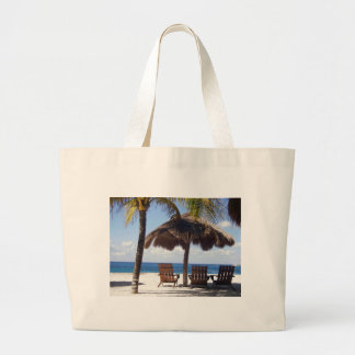 Palm Trees and chairs Mexico Beach Large Tote Bag