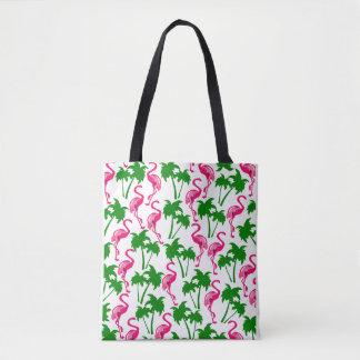 Palm trees and flamenco tote bag